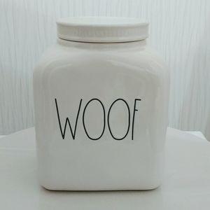Rae Dunn Woof large canister treats jar dog theme